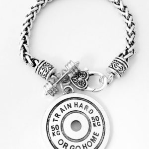 Weight Lifting Fitness Dumbell Barbell Silver Charm Bracelet