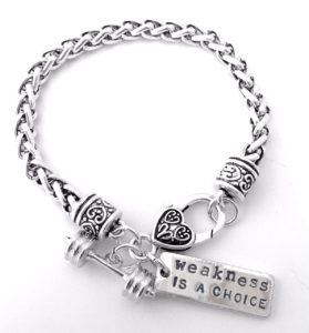 Weight Training Lifting Fitness Dumbell Barbell Silver Charm Bracelet