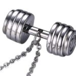Silver Barbell Dumbbell Style Charm Pendant Necklace