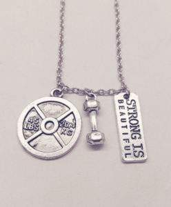 Dumbbell 45LbS Strong is Beautiful, Weightlifting Necklace