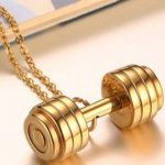 Gold Barbell Dumbbell Style Charm Pendant Necklace