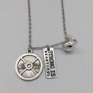 45LBS Weight Plate & Kettlebell & STRONG IS BEAUT Charm Necklace Weightlifting
