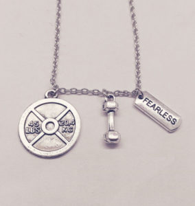 45 lbs+dumbbell +FEARLESS Charm Necklace