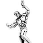 Muscle Man Bodybuilder Dumbbell Pendant Necklace