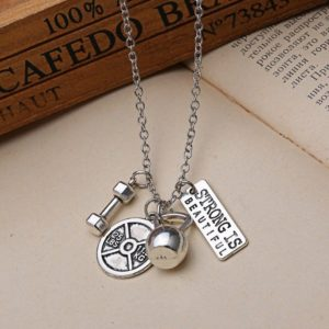 Weight Crossfit Barbell Charm STRONG IS BEAUTIFUL Dumbbell