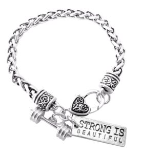 """Strong Is Beautiful Dumbell Barbell Silver Charm Bracelet 8"""""""